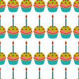 Cake with candle seamless pattern. Cake sweet dessert for holiday. Vector illustration royalty free illustration
