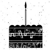 Cake and Candle Silhouette Birthday Banner Royalty Free Stock Images