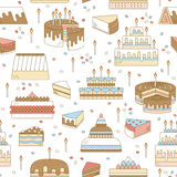 Cake with candle vector icon line seamless pattern. Sweet dessert illustration. Happy birthday wedding party celebration Royalty Free Stock Photo