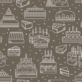 Cake with candle vector icon line seamless pattern. Sweet dessert illustration. Happy birthday wedding party celebration Stock Photography