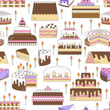 Cake with candle vector icon line seamless pattern. Sweet dessert illustration. Happy birthday wedding party celebration food silh Royalty Free Stock Photo
