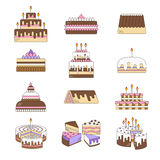 Cake with candle vector icons line set . Sweet dessert illustration. Happy birthday wedding party celebration Royalty Free Stock Images