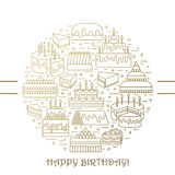 Cake with candle vector icons line set . Sweet dessert illustration. Happy birthday wedding party celebration Stock Photography