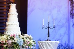 Cake and Candle in the Wedding Royalty Free Stock Image