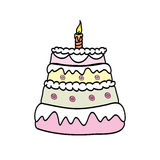 Cake with a candle  on white. Vector Royalty Free Stock Photography