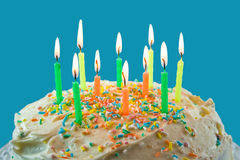 Cake and candles. Stock Image