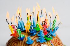 Cake with candles Royalty Free Stock Images