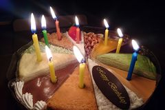Cake with candles royalty free stock image