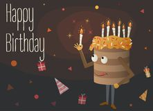 Cake with candles. Greeting card. Birthday cartoon cake with  burning candles on own head, gifts and  festive hats around it Stock Photography