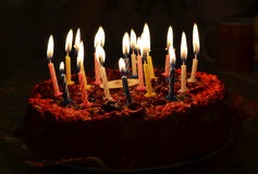 Cake with candles. Cake with happy birthday candles Royalty Free Stock Photo