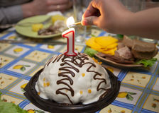Cake from candles on a holiday table Stock Images