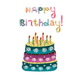 Cake with candles and the inscription of doodles on the day of birth. Happy Birthday. Vector illustration Royalty Free Stock Images