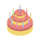 Cake with candles isolated for Holiday. Birthday pie on white. Background Stock Images
