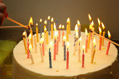 Cake with candles Stock Photography