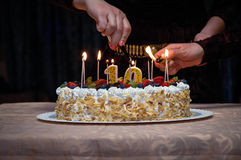 Cake with candles Stock Photos