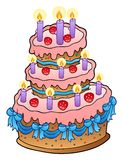 Cake with candles and ribbons Stock Photography