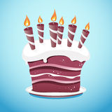 Cake With Candles On Serving Plate. A nice vector cake covered in frosting sitting on a serving plate. All colors are global swatches for easy switching, if you Royalty Free Stock Photography