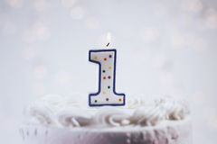 Cake With Candles For 1st Birthday Royalty Free Stock Photography