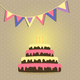 Cake with candles. Vector image of festive flags and cake with candles Royalty Free Stock Image