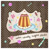 Cake, candy, sugar sticks Royalty Free Stock Photography
