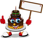 Cake cartoon holding blank board Royalty Free Stock Photo