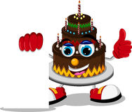 Cake cartoon holding blank sign Royalty Free Stock Photos
