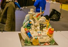 Cake celebrating winter olympics in Pyeong Chang, South Korea ma. Seoul, South Korea, January, 19, 2018: White chocolate cake celebrating winter olympics in Stock Photography