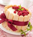 Cake Charlotte met frambozen stock foto