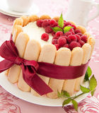 Cake Charlotte with raspberries Stock Photo