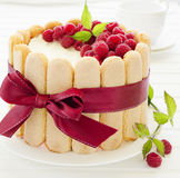 Cake Charlotte with raspberries Stock Image