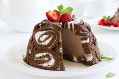 Cake Charlotte royale with chocolate ice cream Royalty Free Stock Image
