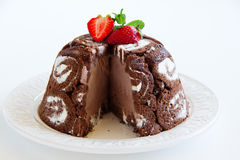 Cake Charlotte royale with chocolate ice cream Royalty Free Stock Images