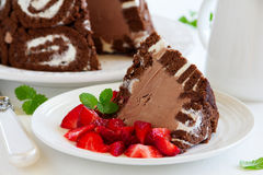 Cake Charlotte royale with chocolate ice cream Royalty Free Stock Photo