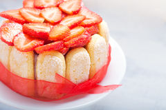 Cake Charlotte with strawberries royalty free stock images