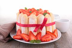 Cake charlotte with strawberry Stock Photo