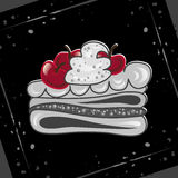 Cake with cherries on an abstract background. Festive cupcake. Royalty Free Stock Photo