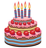 Cake with cherries and burning candles Royalty Free Stock Photos