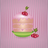 Cake with cherries Royalty Free Stock Images