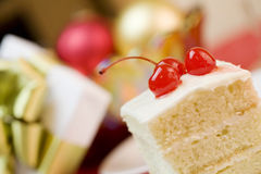 Cake with cherries, party theme Royalty Free Stock Image