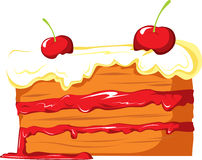 Cake with cherries Royalty Free Stock Photography