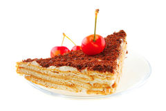 Cake and cherry Royalty Free Stock Photos