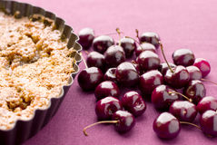 Cake with cherry. The cherry's cake with almonds Royalty Free Stock Photos