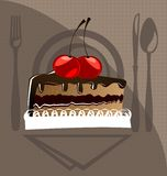 Cake and cherry. Against the background of cookware piece of chocolate cake with cherries Stock Photos