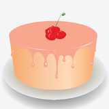 Cake with cherry Stock Photos