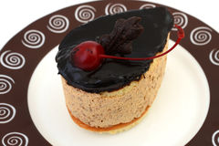 Cake with cherry and chocolate Stock Photography
