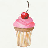Cake with a cherry. Cake with cream and cherry on top Royalty Free Stock Image