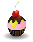 Cake with cherry royalty free illustration