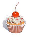 Cake with cherry. Eps10  illustration.  on white background Stock Image
