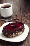 Cake with cherry jelly and coffee Stock Image