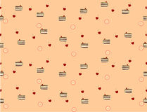 Cake with cherry. Nice seamless texture made of pieces of chocolate cake, cherries and little pinky circles Royalty Free Illustration